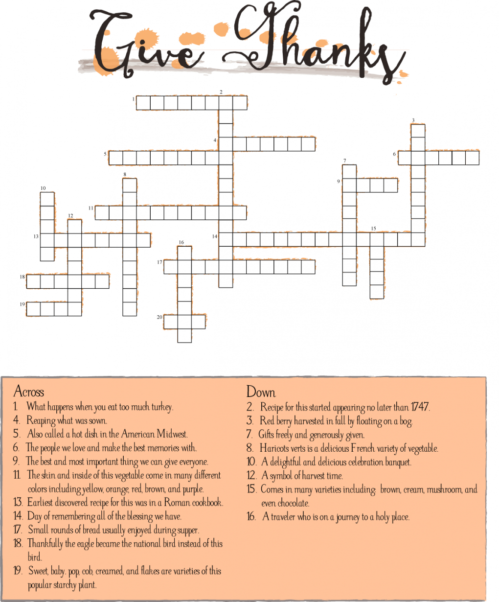10 Superfun Thanksgiving Crossword Puzzles | Kittybabylove - Printable Thanksgiving Crossword Puzzles For Adults