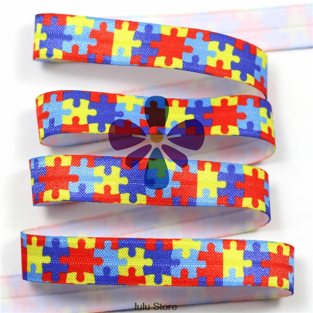 "10 Yards 5/8""16 Mm Autism Awareness Puzzle Printed Elastic Ribbon - Puzzle Print Ribbon"