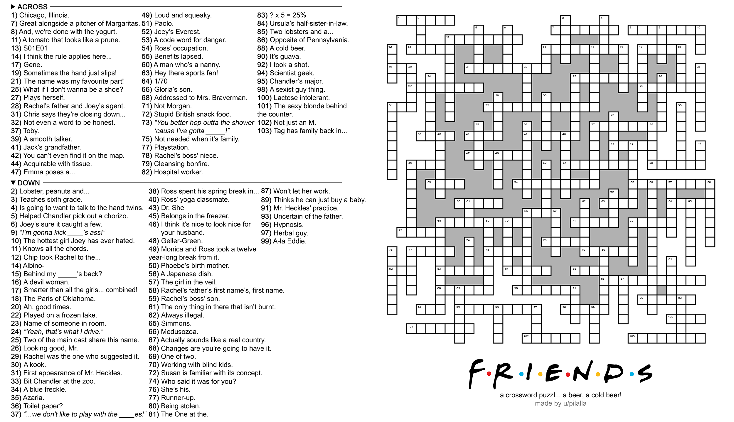 104 Word 'friends' Themed Crossword Puzzle : Howyoudoin - Printable Crossword Puzzles For December 2018