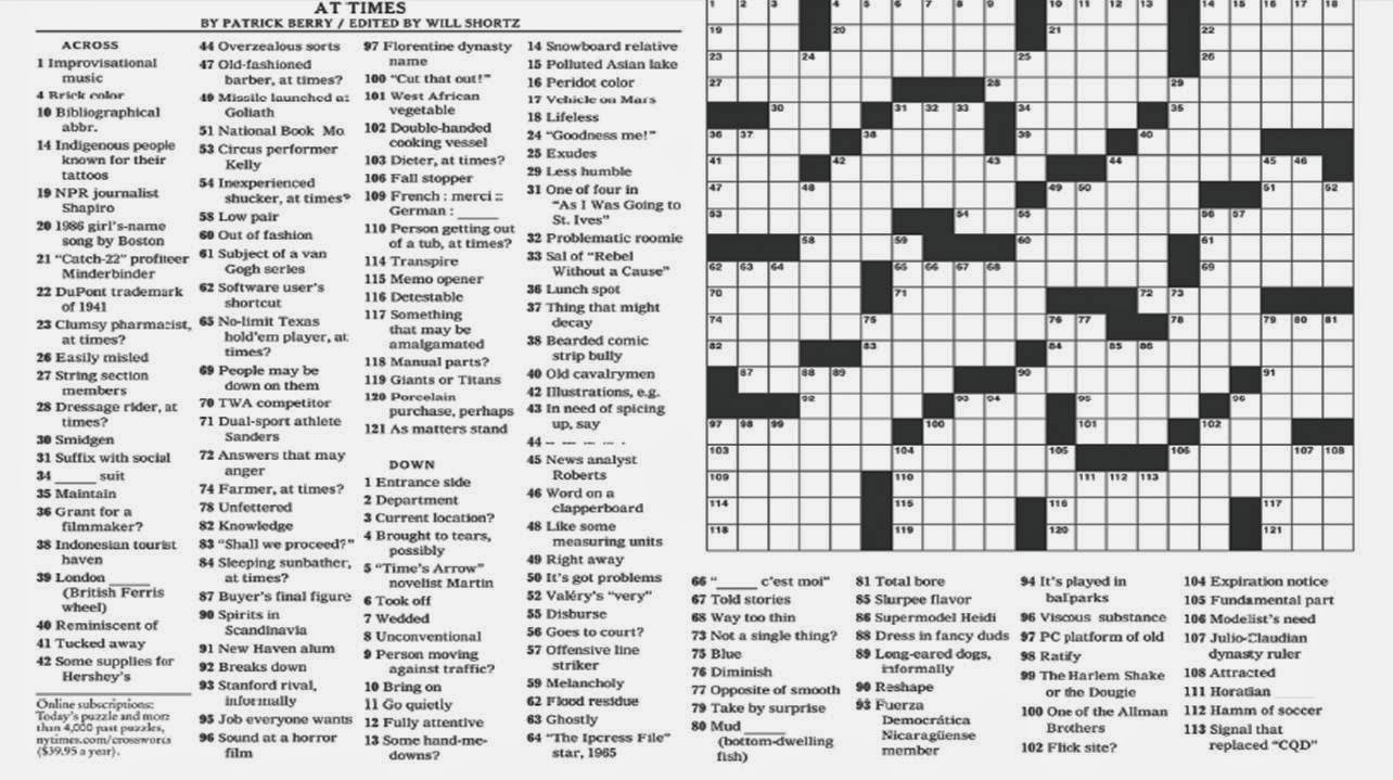 11 Best Photos Of New York Times Crossword Puzzles Printable - New - Printable Sunday Crossword Puzzles New York Times