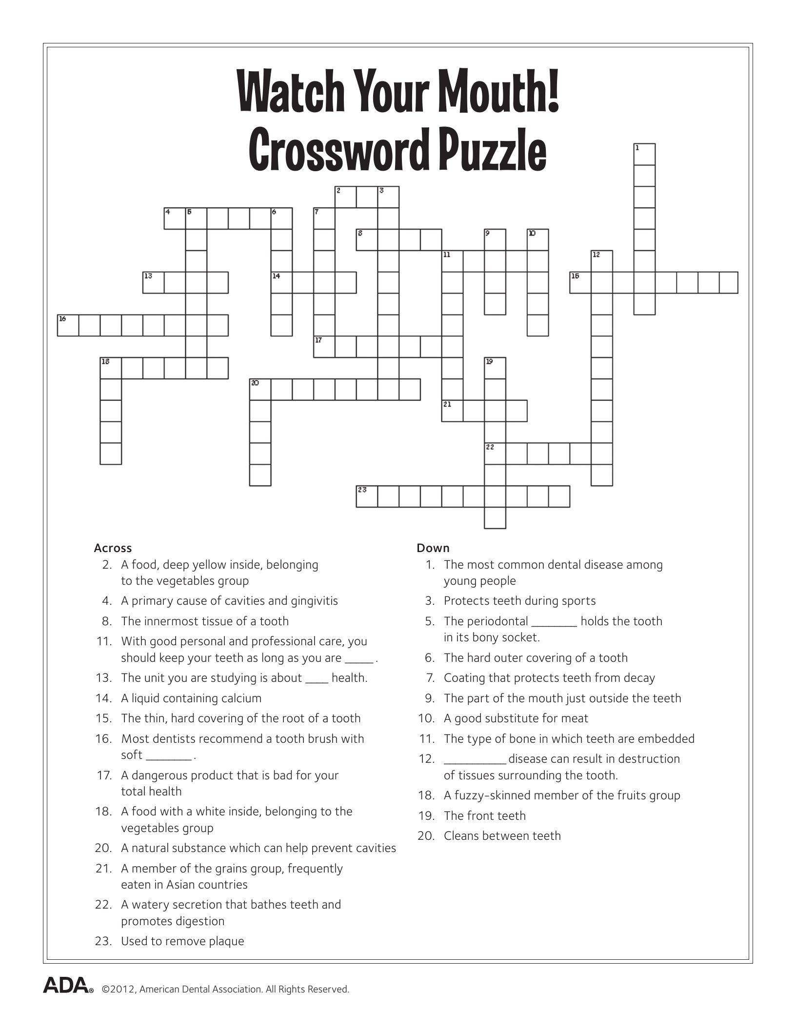 graphic relating to Fun Crossword Puzzles Printable titled 11 Dental Exercise Pursuits Puzzle Enjoyable (Printable) Dental