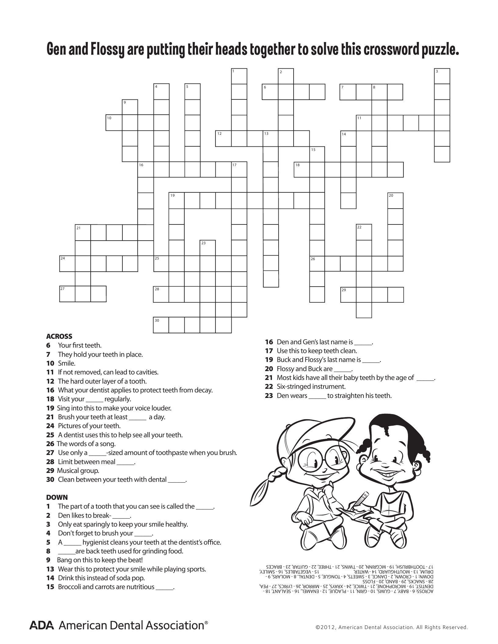 11 Dental Health Activities Puzzle Fun (Printable) | Dental Hygiene - Printable Personal Hygiene Crossword Puzzle