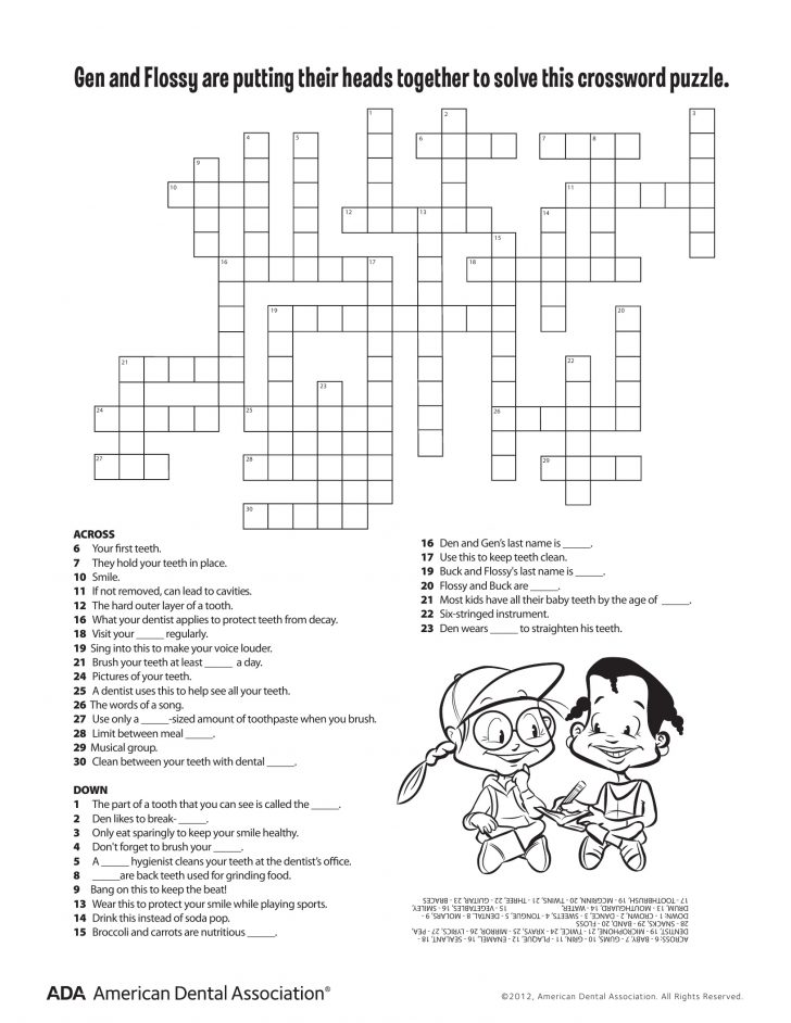 Printable Crossword For Grade 6