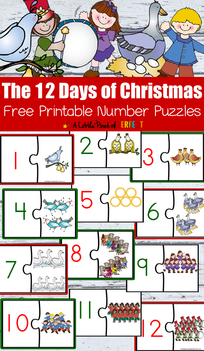 12 Days Of Christmas Free Printable Number Puzzles - - Printable Number Puzzles For Kindergarten