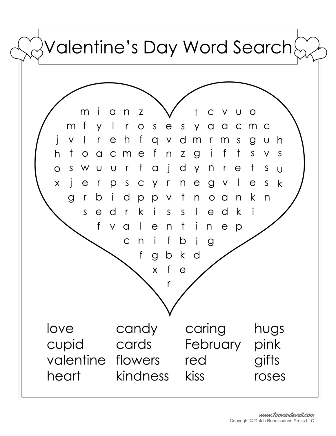 12 Valentine's Day Word Search | Kittybabylove - Printable Heart Puzzles