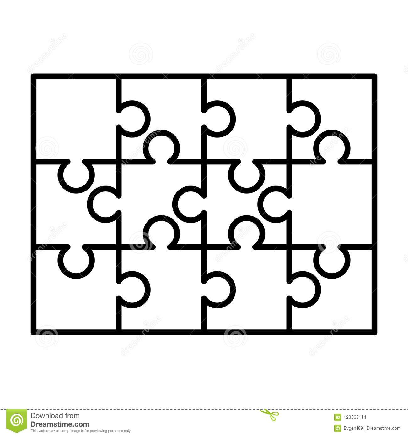 12 White Puzzles Pieces Arranged In A Rectangle Shape. Jigsaw Puzzle - Print Jigsaw Puzzle