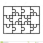 12 White Puzzles Pieces Arranged In A Rectangle Shape. Jigsaw Puzzle   Print Puzzle From Photo