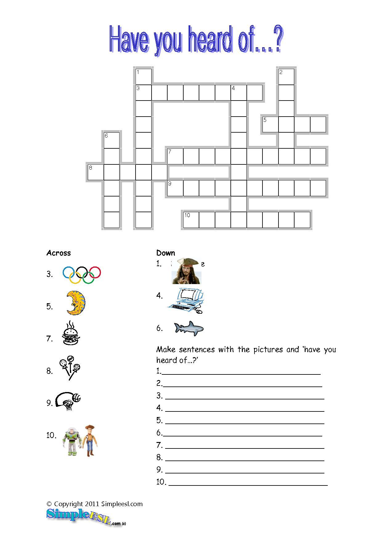 15 Best Photos Of Esl Printable Worksheets Crossword - Printable - Printable Crossword Puzzle For Esl Students