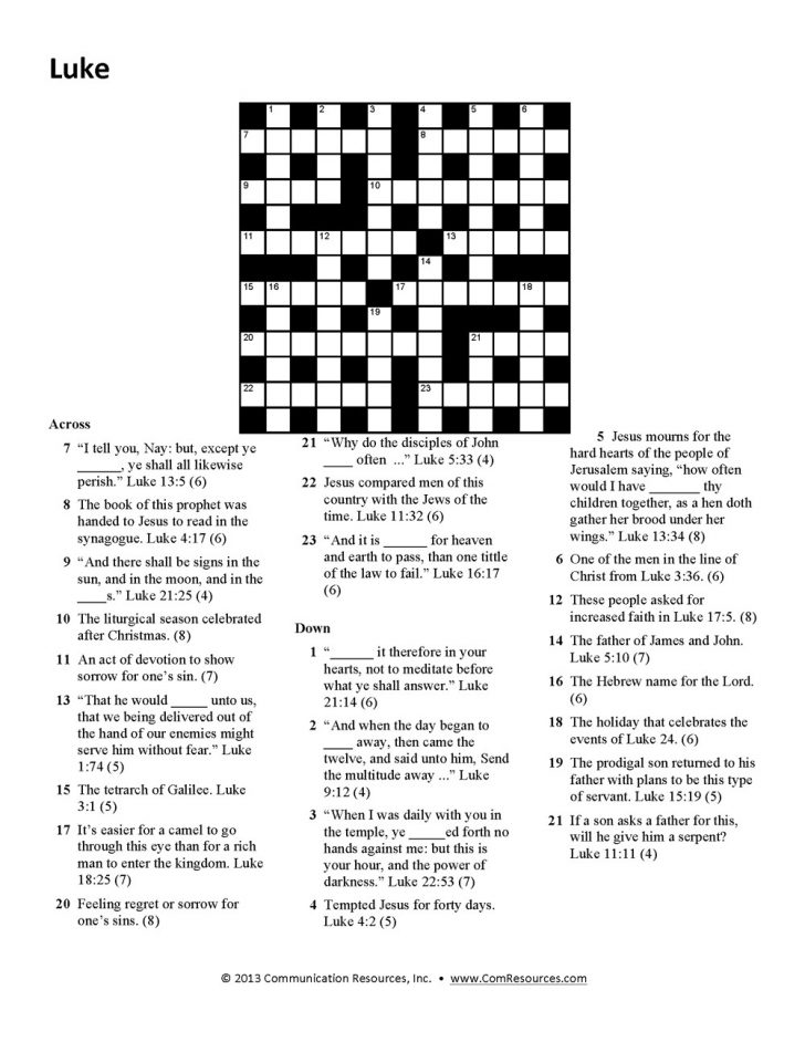 Bible Crossword Puzzles For Adults Printable