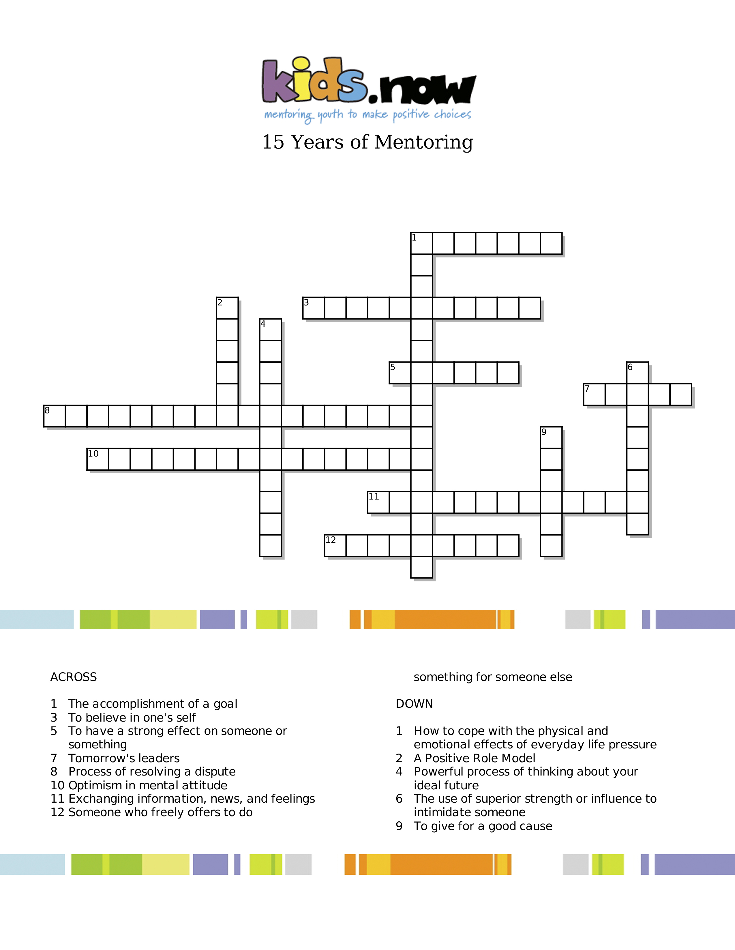 15 Years Of Mentoring   Crossword Puzzle - Kids Now - Printable Conflict Resolution Crossword Puzzle