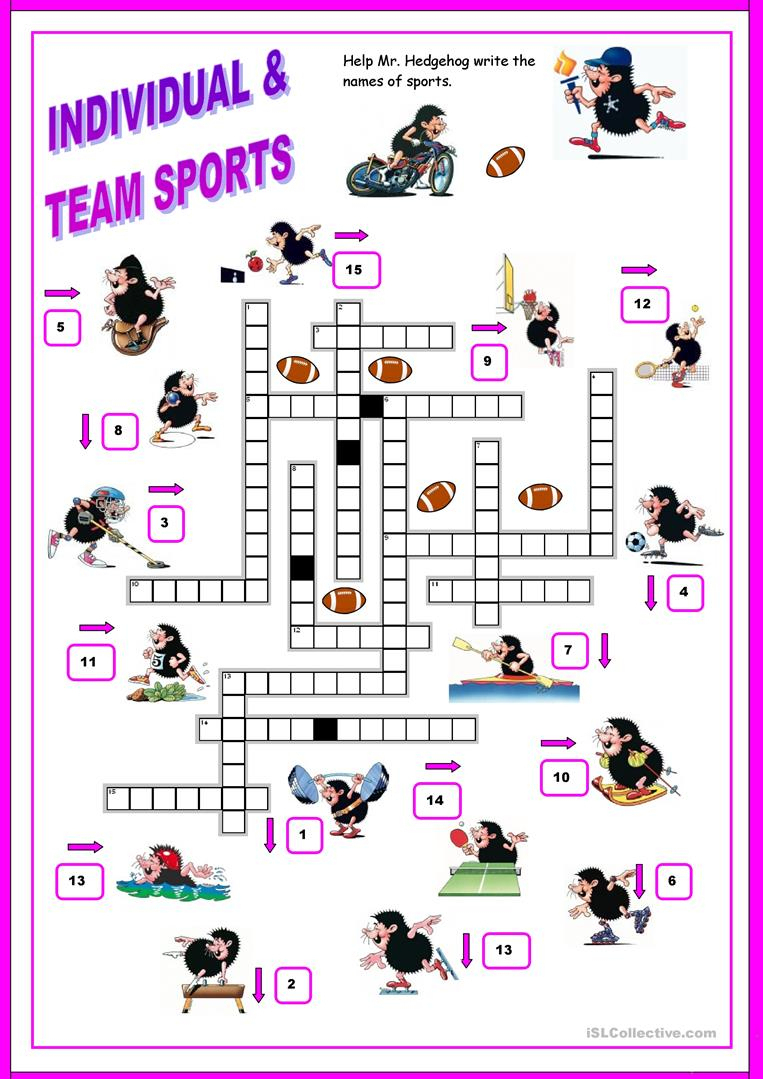16 Free Esl Sports Crossword Worksheets - Free Printable Sports - Sports Crossword Puzzles Printable
