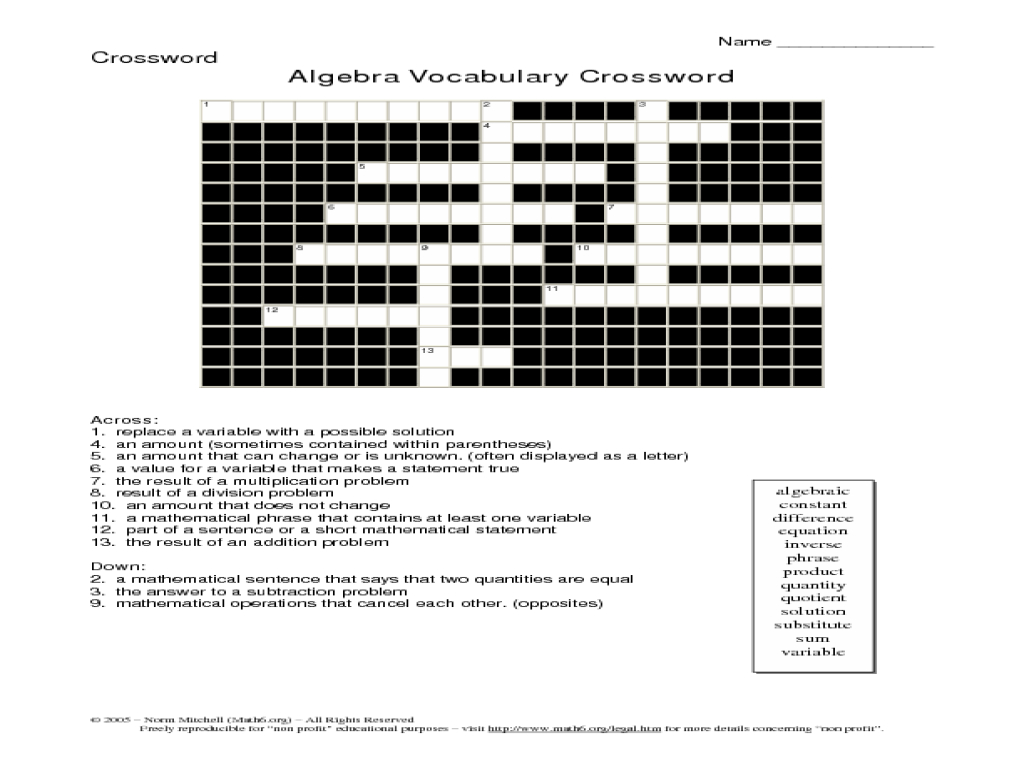 20 Easy And Interactive Math Crossword Puzzles | Kittybabylove - Math Vocabulary Crossword Puzzles Printable
