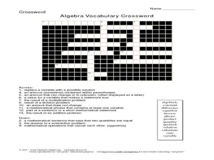 Printable Vocabulary Crossword Puzzles