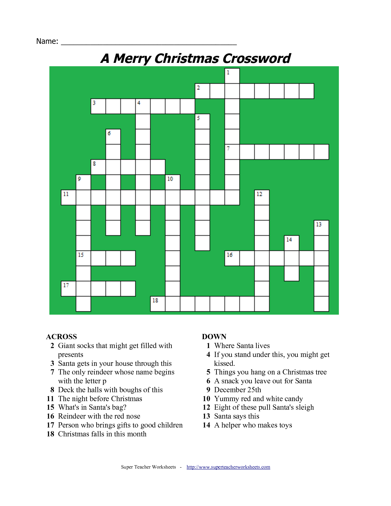 20 Fun Printable Christmas Crossword Puzzles | Kittybabylove - Printable Xmas Puzzles