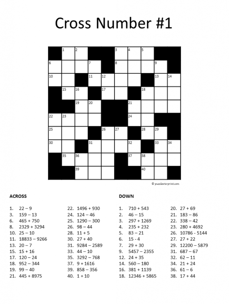20 Math Puzzles To Engage Your Students | Prodigy - Free Printable Crossword Puzzles For High School Students