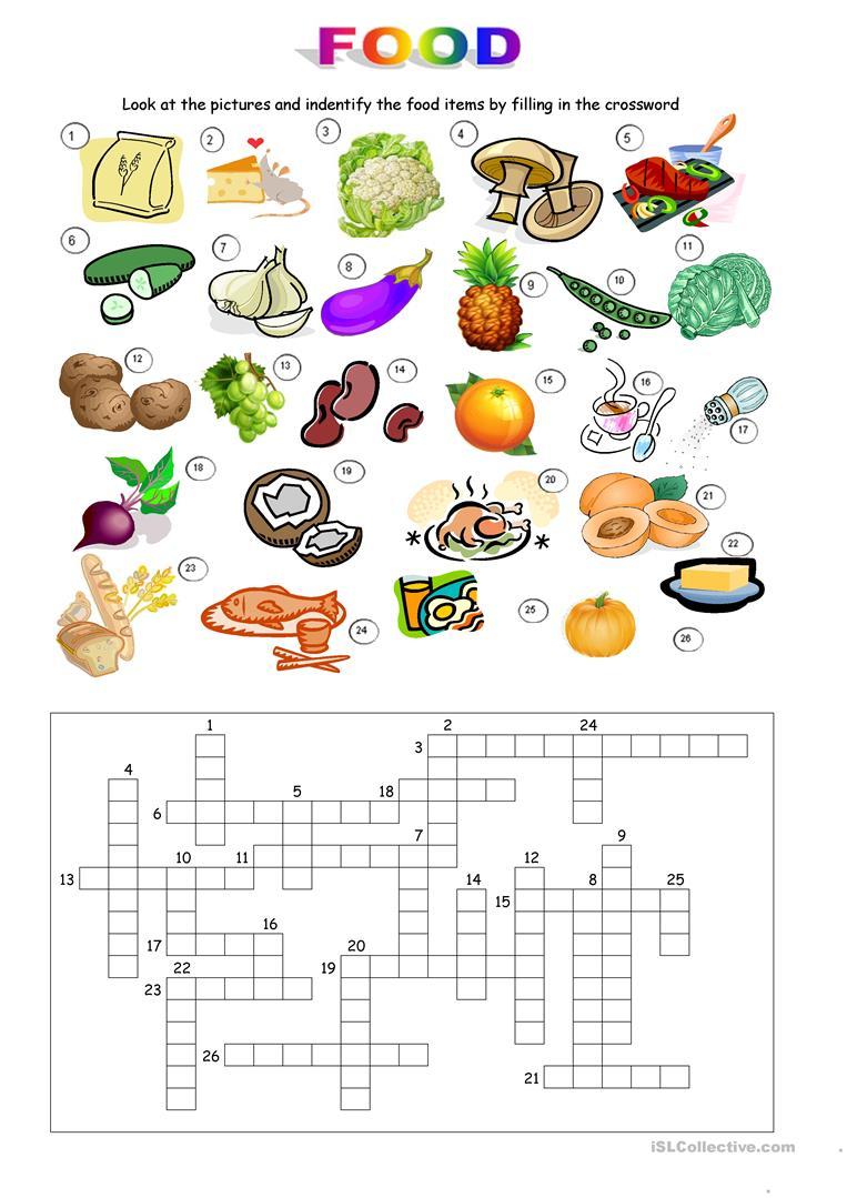 32 Free Esl Food Crossword Worksheets - Printable Food Puzzle