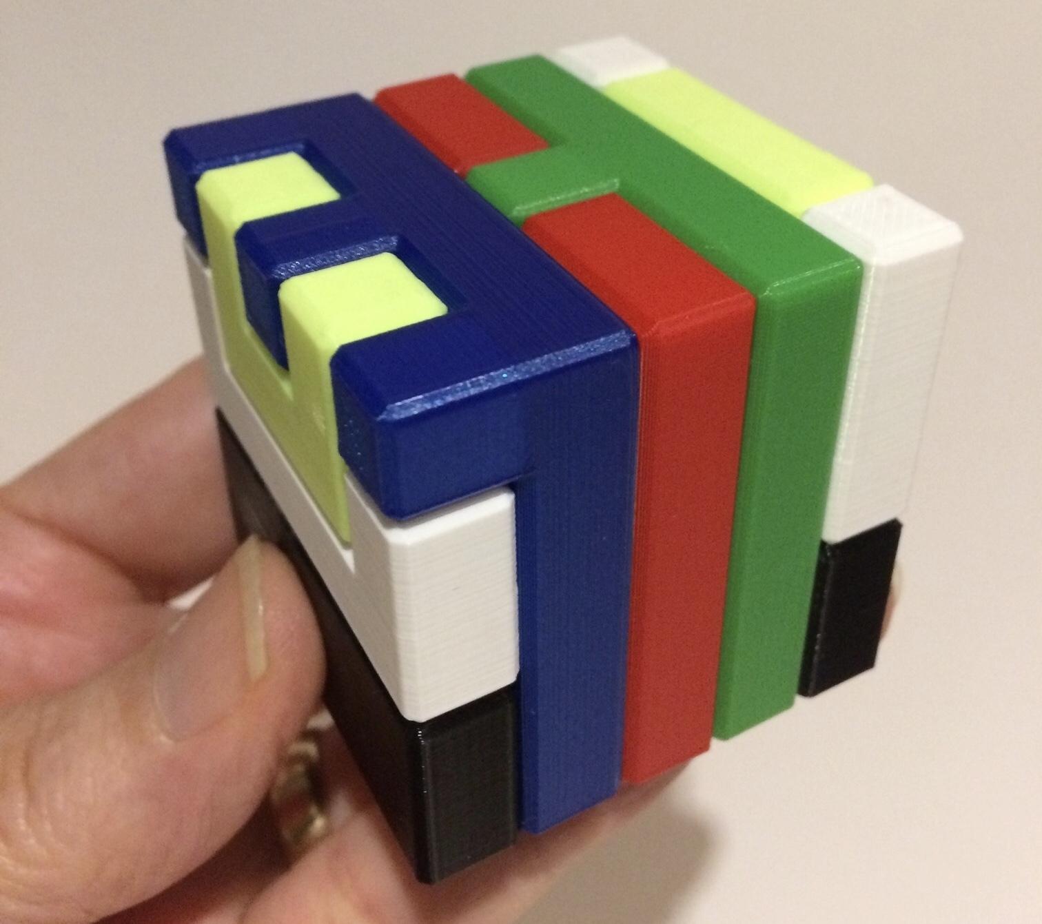 3D Printed Printable Interlocking Puzzle #4 - Level 11Richgain - 3D Printable Puzzles Cube
