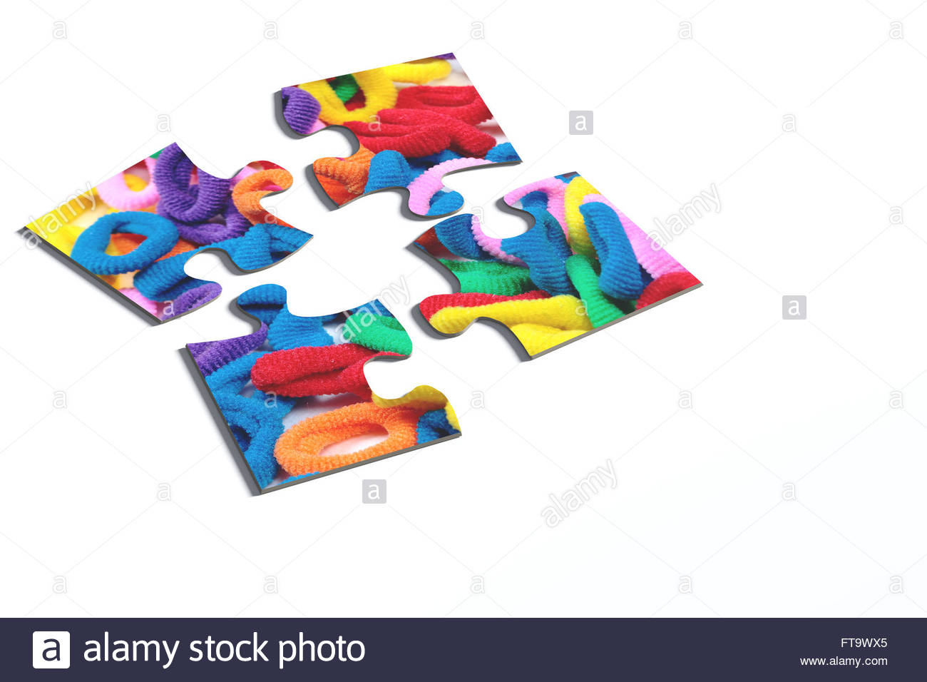 3D Rendering Of An Isolated Puzzle Pieces With Hairband Print On - Print On Puzzle