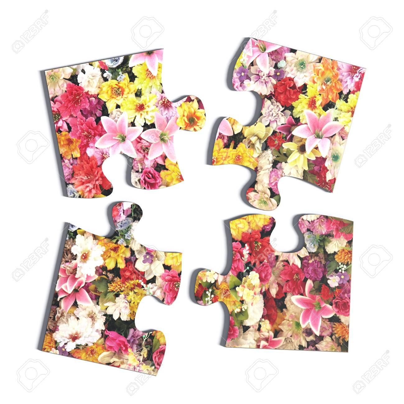 3D Rendering Of Four Puzzle Pieces With Flower Print On White - Print On Puzzle