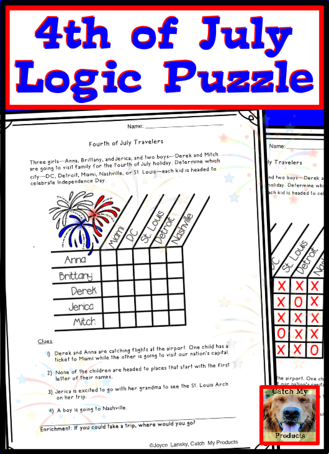 4Th Of July Logic Puzzle For Gifted Talented Or Bright Students - Printable Puzzles For Gifted Students