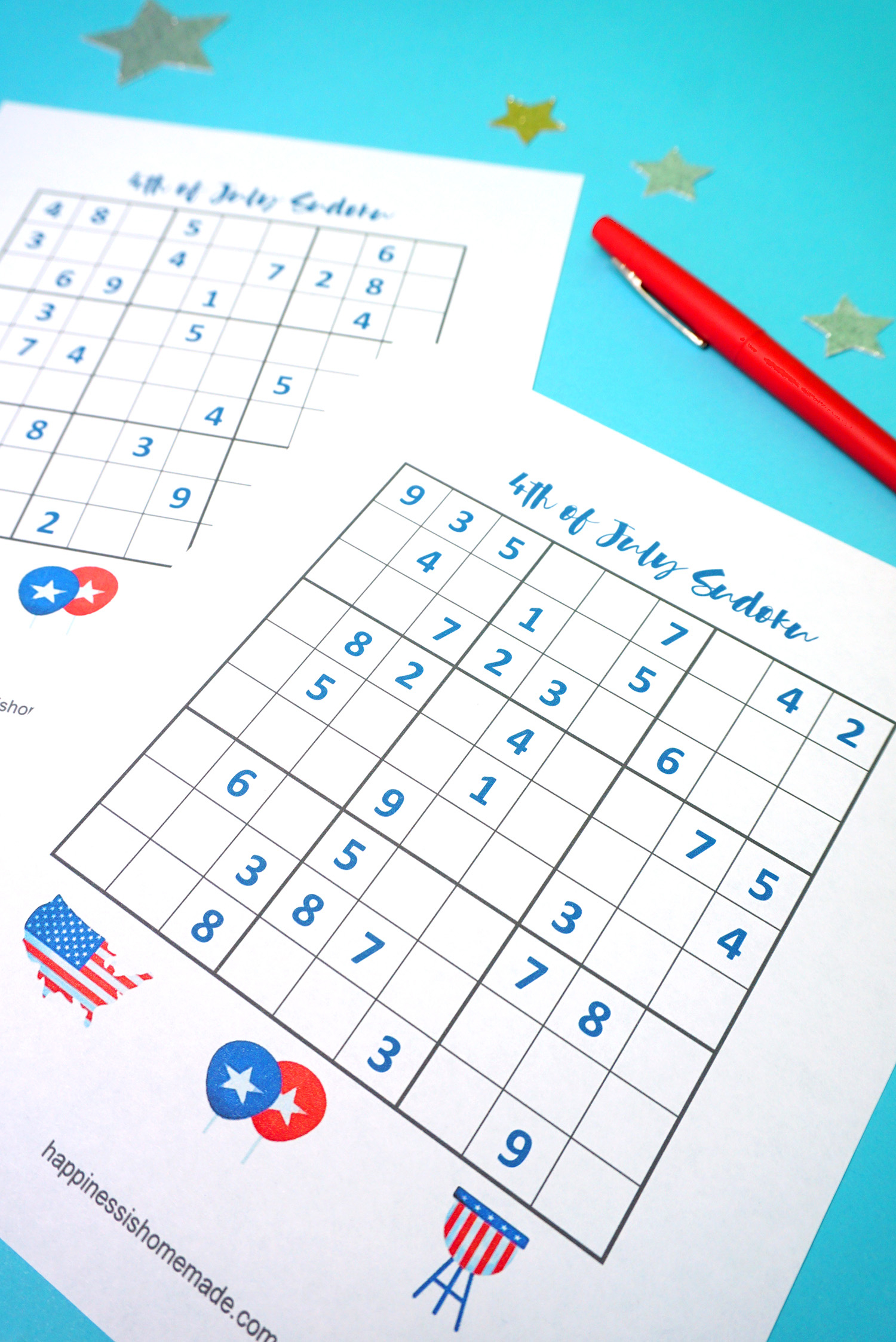4Th Of July Printable Sudoku Puzzles + Logic Puzzle - Happiness Is - Printable Puzzles To Pass Time
