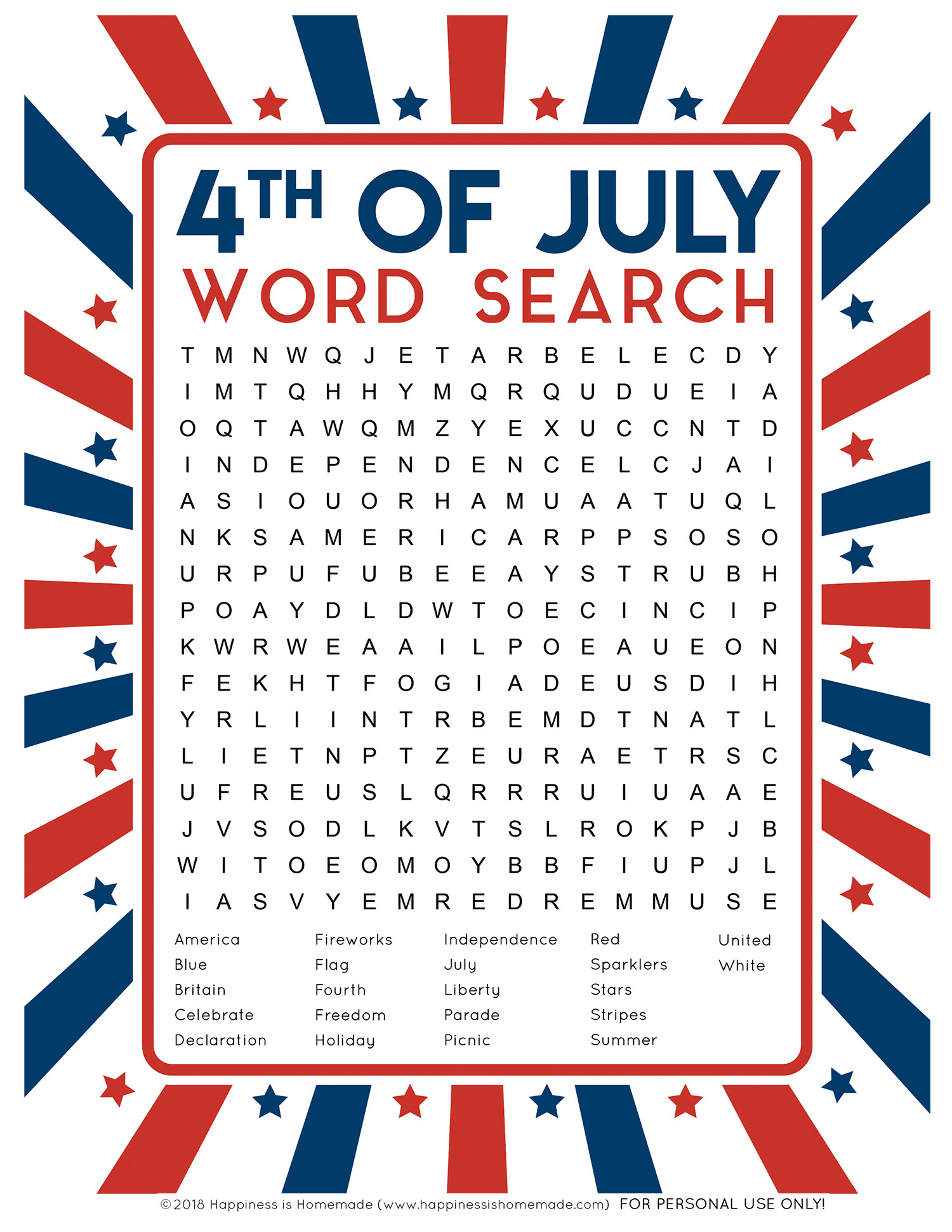 4Th Of July Word Search Printable - Happiness Is Homemade - Printable July 4Th Puzzles
