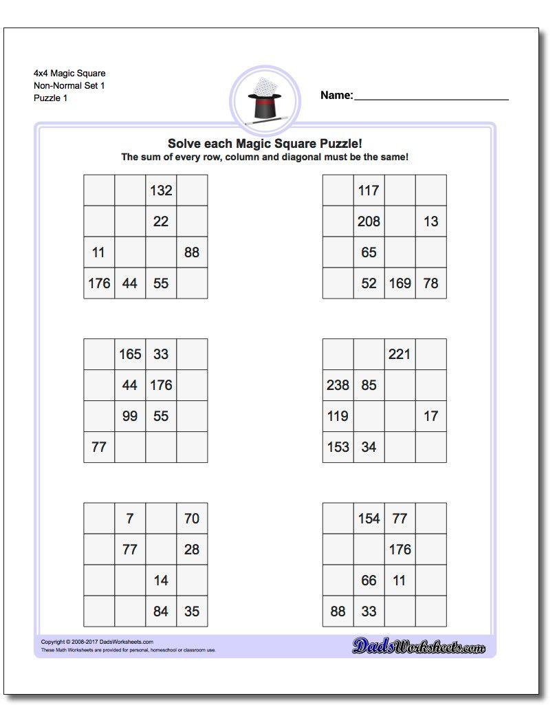 4X4 Magic Square Puzzles | Math Worksheets | Logic Puzzles, Magic - Printable Puzzles 4X4