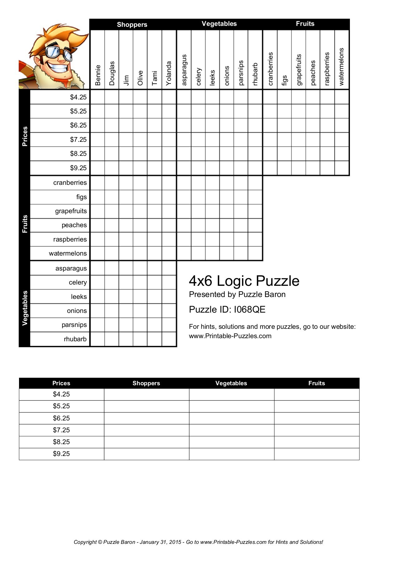 4X6 Logic Puzzle - Logic Puzzles - Play Online Or Print  Pages 1 - Printable Logic Puzzles Puzzle Baron