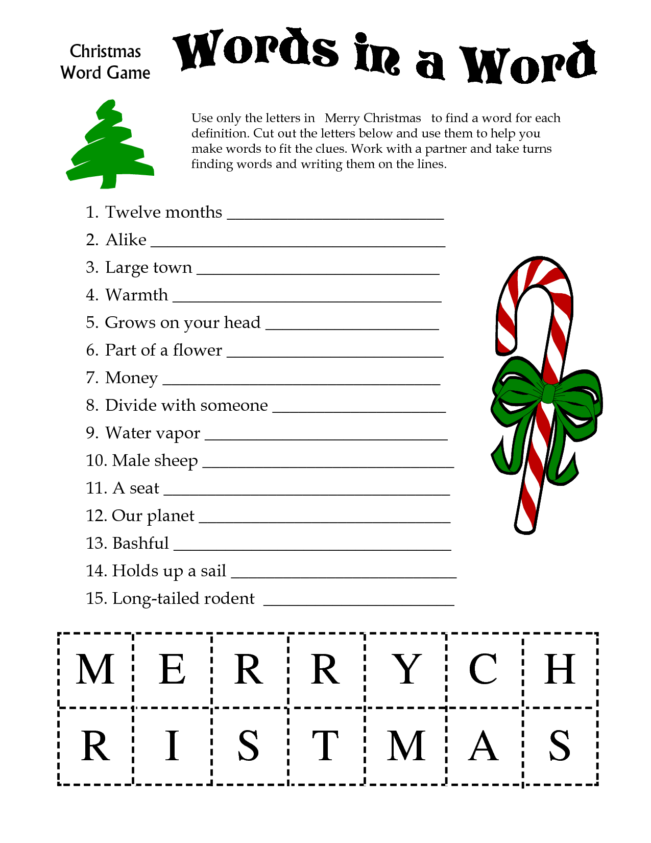 5 Images Of Free Printable Christmas Word Games | Printablee - Printable Christmas Word Puzzle