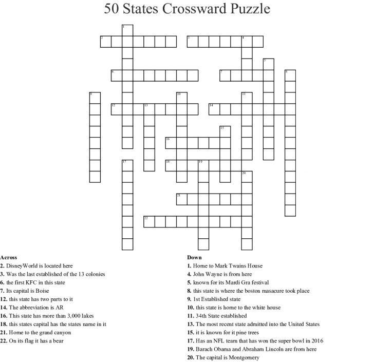 50 States Crossword Puzzle Printable