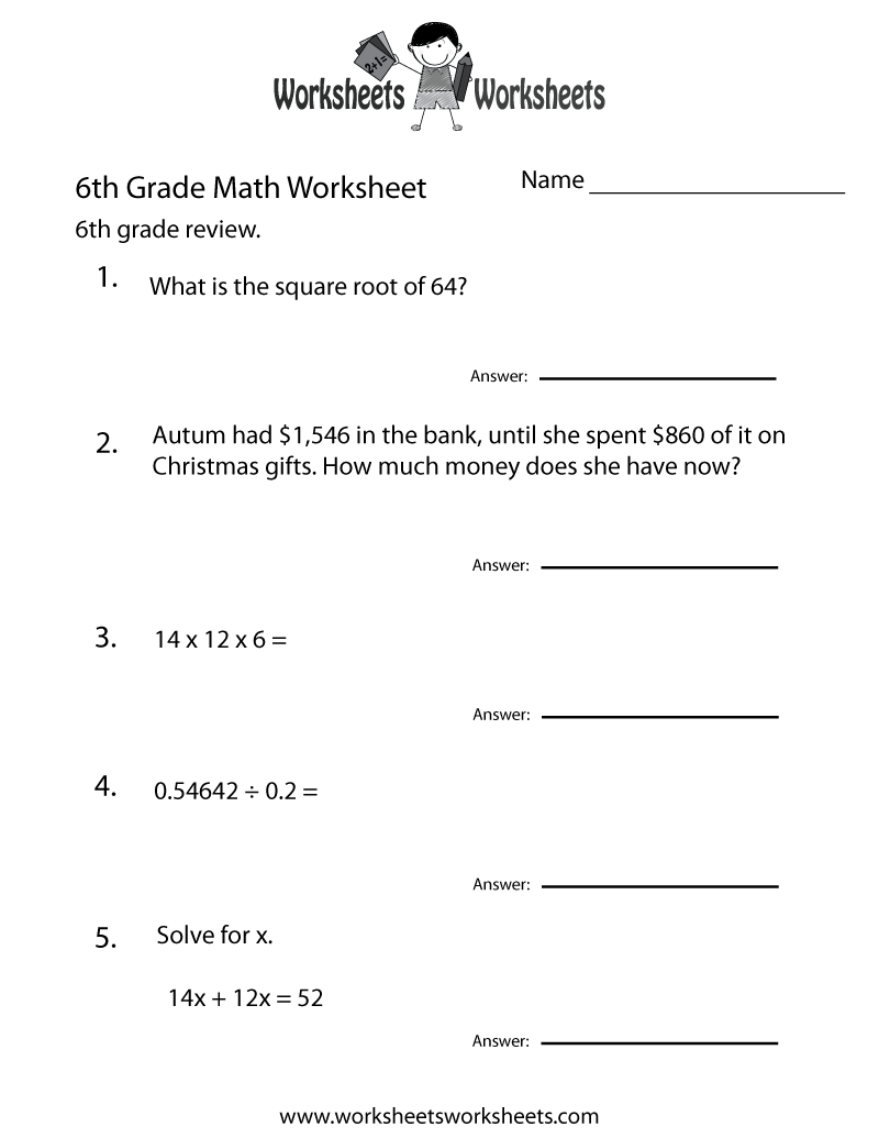 6 Grade Math Worksheets | Sixth Grade Math Practice Worksheet - Free - Printable Math Puzzles For 6Th Grade