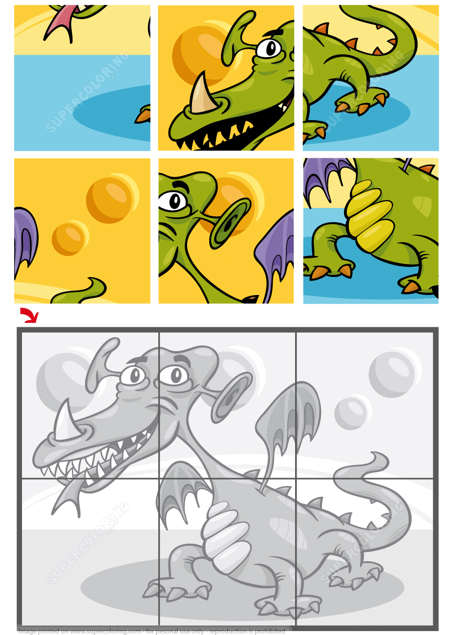 6 Piece Jigsaw Puzzle With A Dragon | Free Printable Puzzle Games - Printable Dragon Puzzle