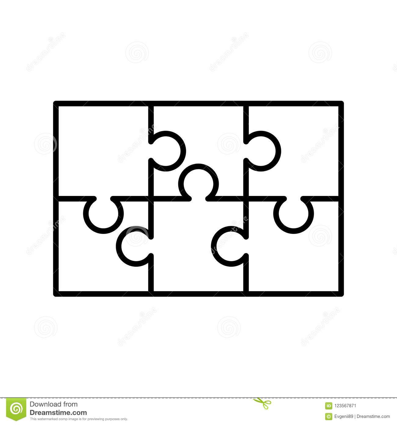 6 White Puzzles Pieces Arranged In A Rectangle Shape. Jigsaw Puzzle - Print On Puzzle Pieces