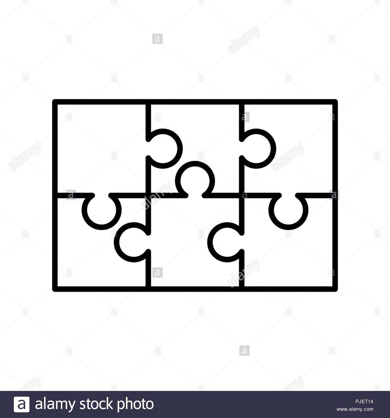 6 White Puzzles Pieces Arranged In A Rectangle Shape. Jigsaw Puzzle - Printable 6 Piece Jigsaw Puzzle