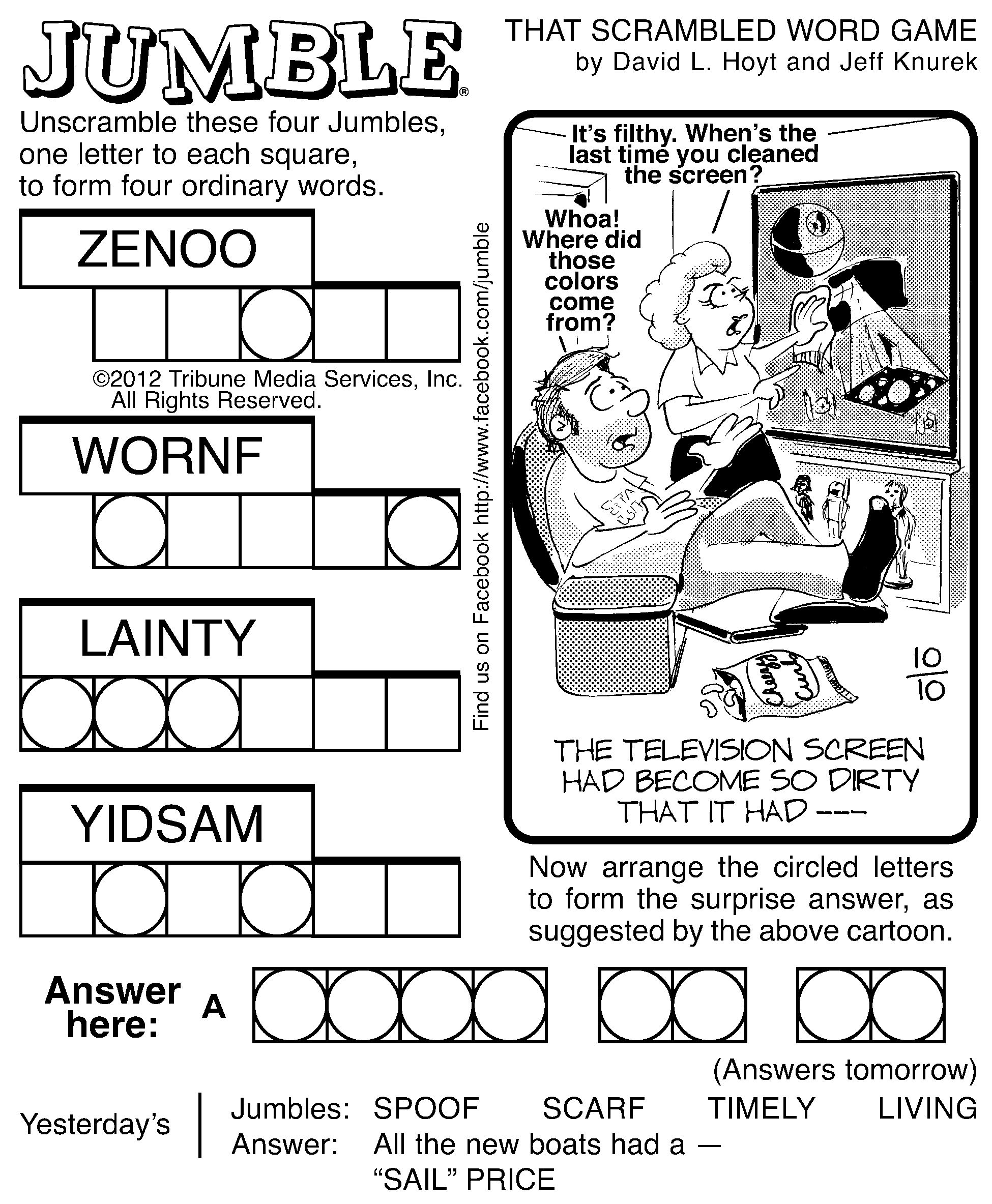 Challenger image in printable jumble crossword puzzles