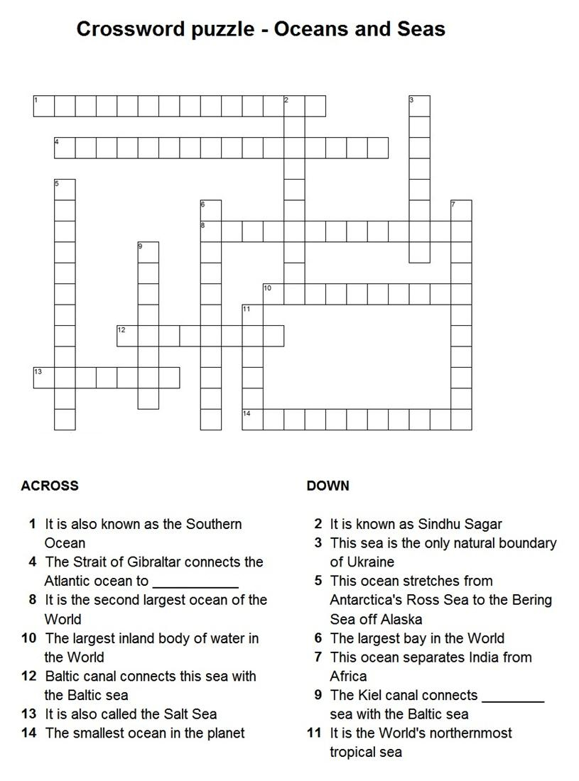 7 Best Photos Of Ocean Crossword Puzzle Printable Google - Ocean - Printable Ocean Crossword Puzzles
