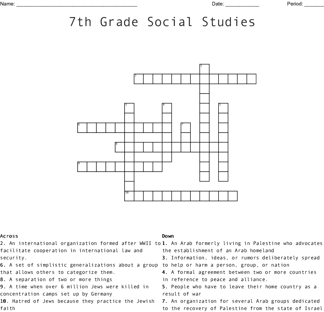 7Th Grade Social Studies Crossword - Wordmint - Crossword Printable 7Th Grade