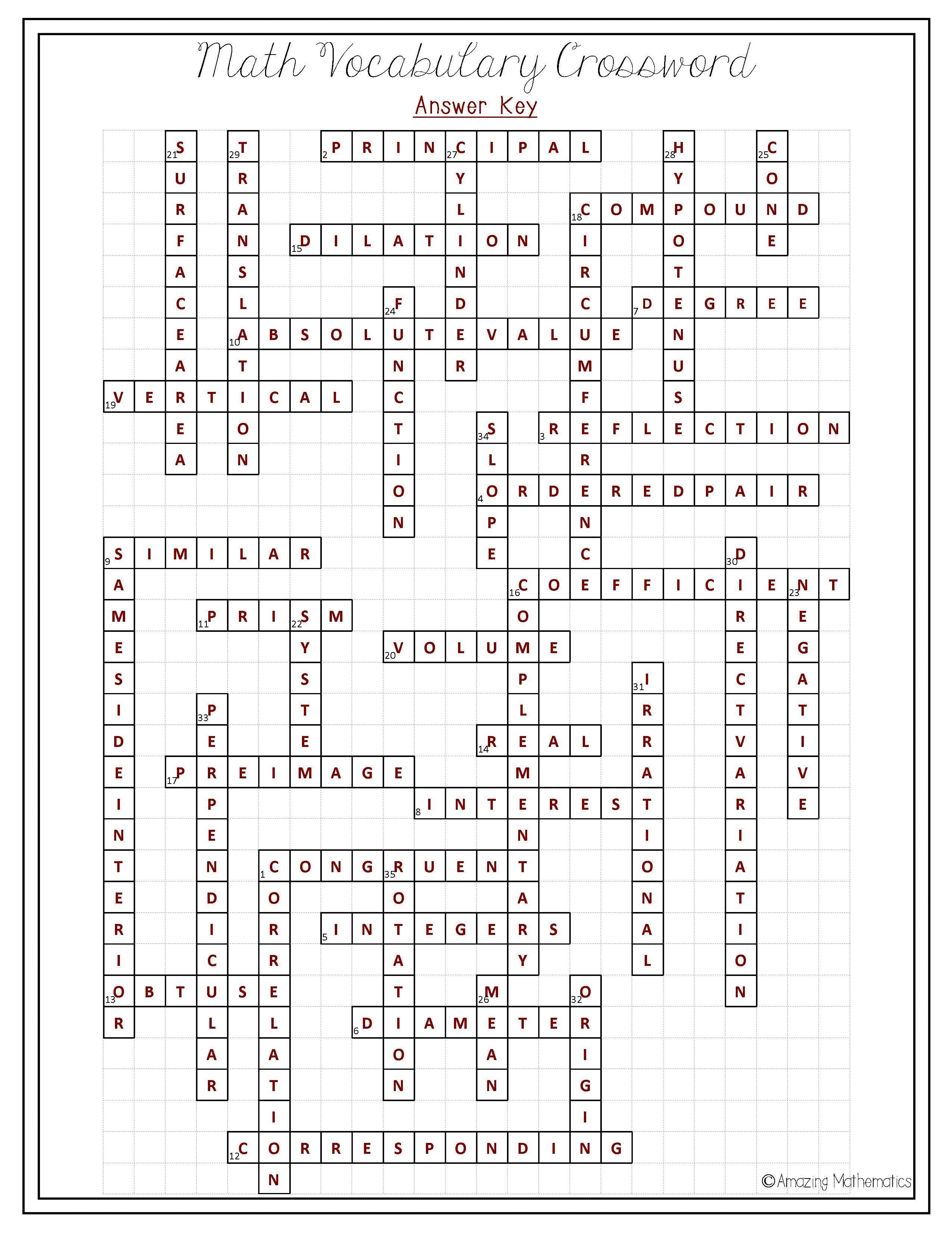 8Th Grade Math Vocabulary Crossword | Puzzles | Math Vocabulary, 8Th - Printable Crossword Puzzles For 8Th Graders