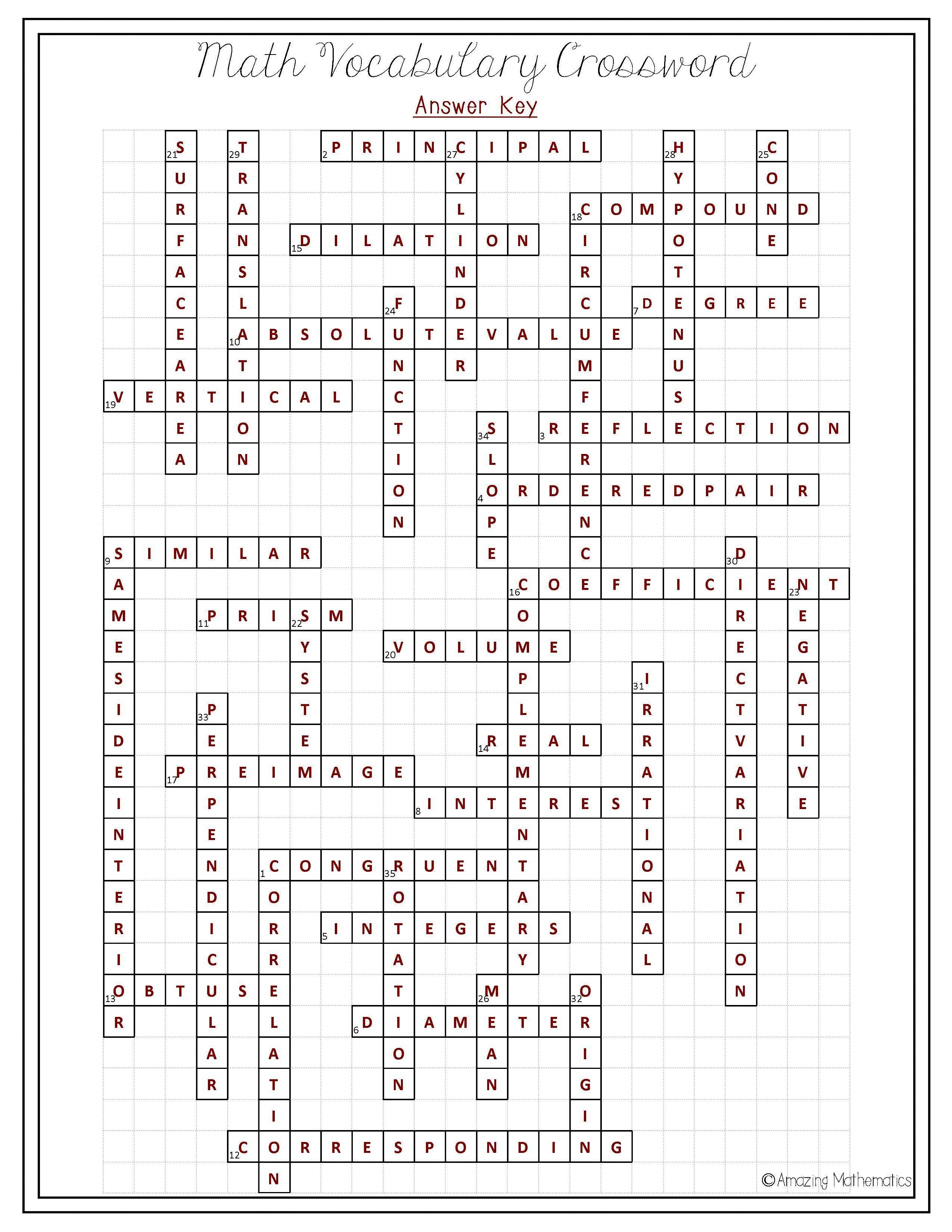8Th Grade Math Vocabulary Crossword | Puzzles | Math Vocabulary, 8Th - Printable Math Vocabulary Crossword Puzzles