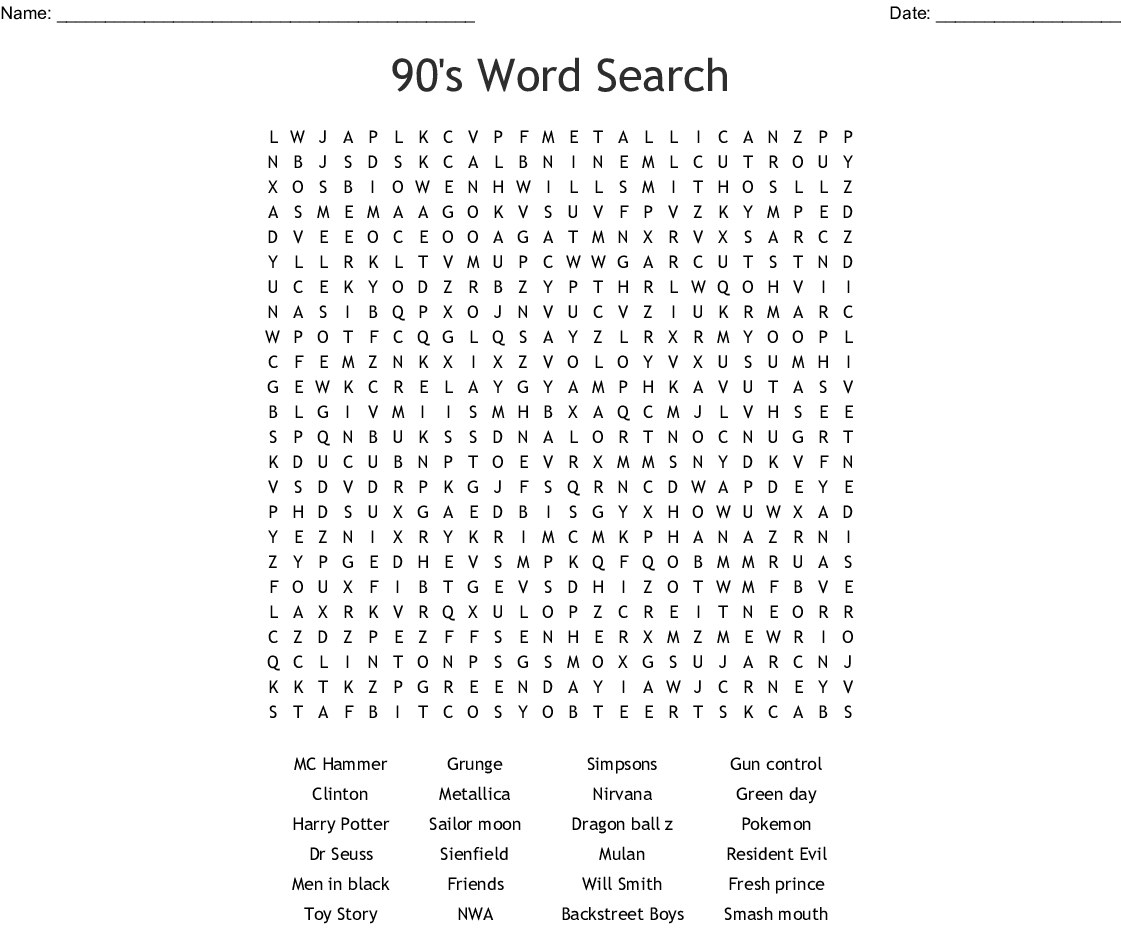 image about Dr. Seuss Word Search Printable identified as 90S Crossword Puzzle Printable Printable Crossword Puzzles