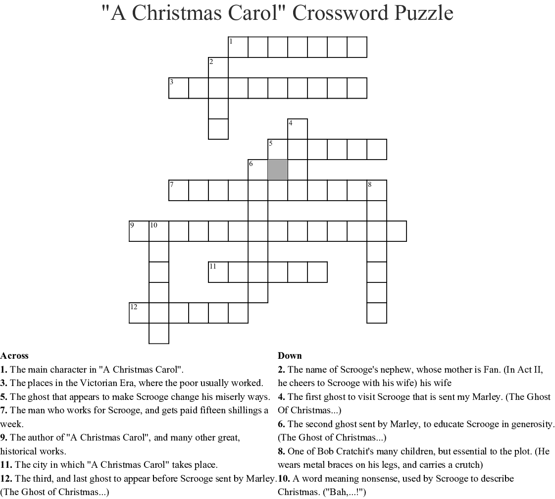 "A Christmas Carol"" Crossword Puzzle Crossword - Wordmint - A Christmas Carol Crossword Printable"