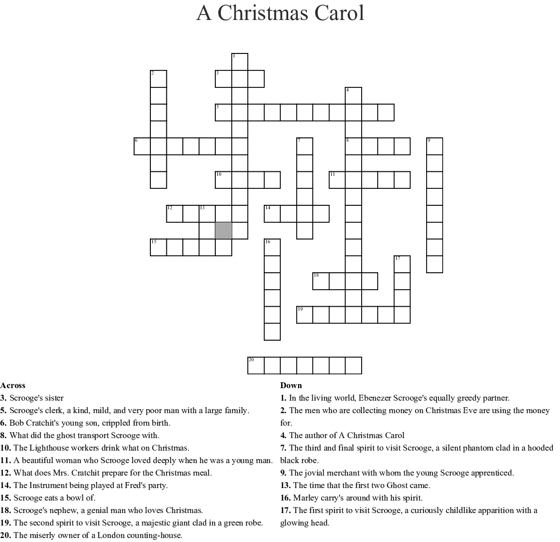 A Christmas Carol Crossword - Wordmint - A Christmas Carol Crossword Printable