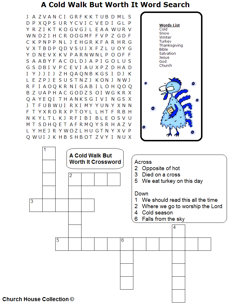 A Cold Walk But Worth It Sunday School Lesson-Turkey Thanksgiving - Christian Thanksgiving Crossword Puzzles Printable