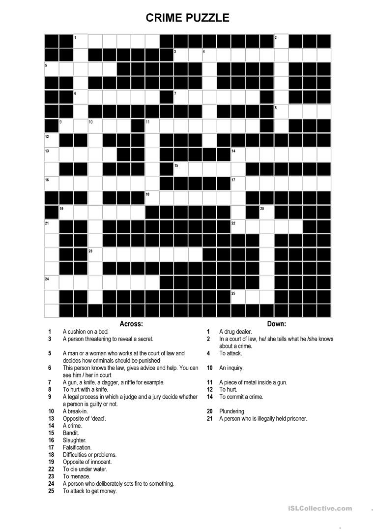 A Crossword Puzzle On Crime Worksheet - Free Esl Printable - Intermediate Crossword Puzzles Printable