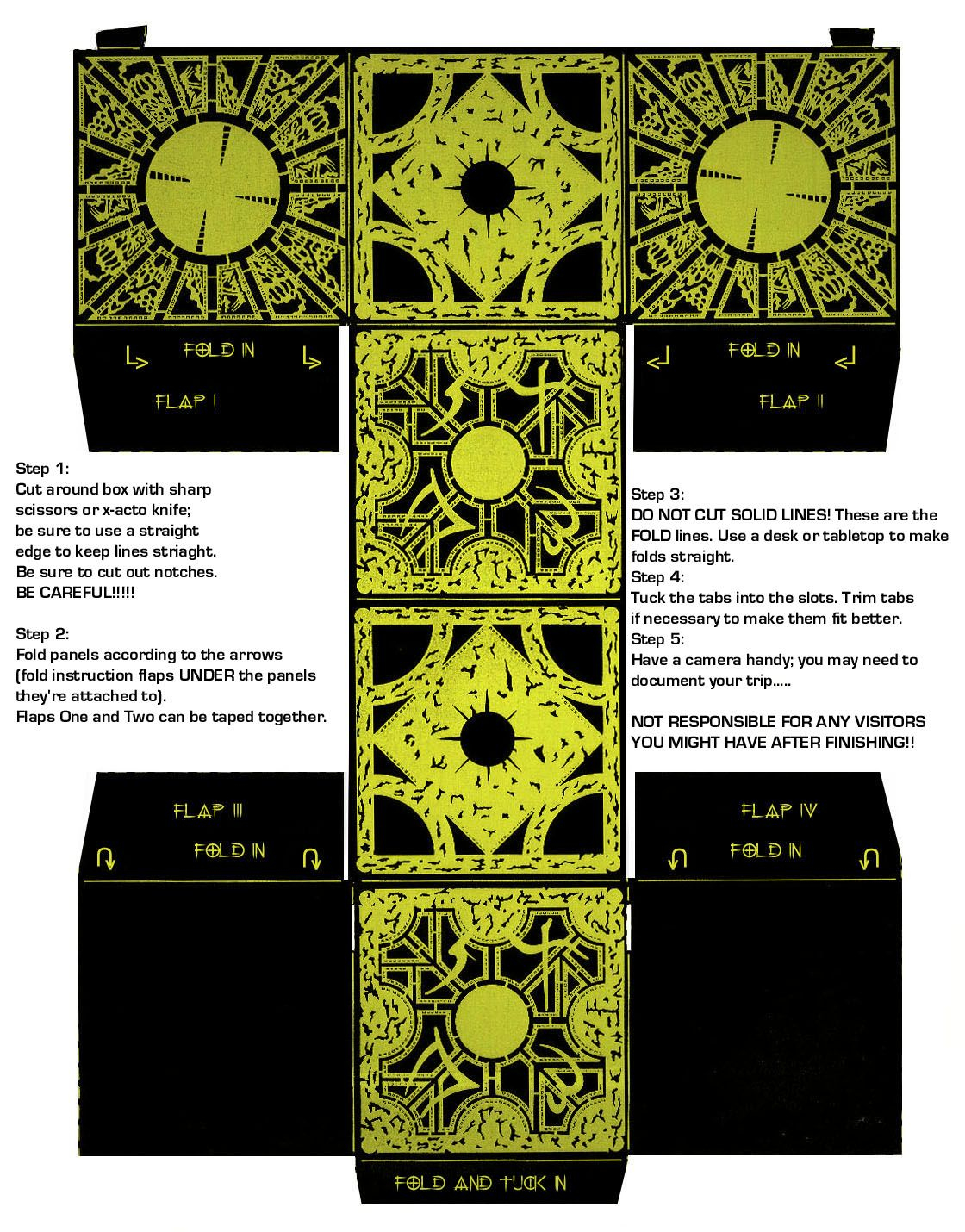 A Cut And Fold Hellrasier Puzzle Box | Hellraiser | Puzzle Box, Diy - Printable Hellraiser Puzzle Box