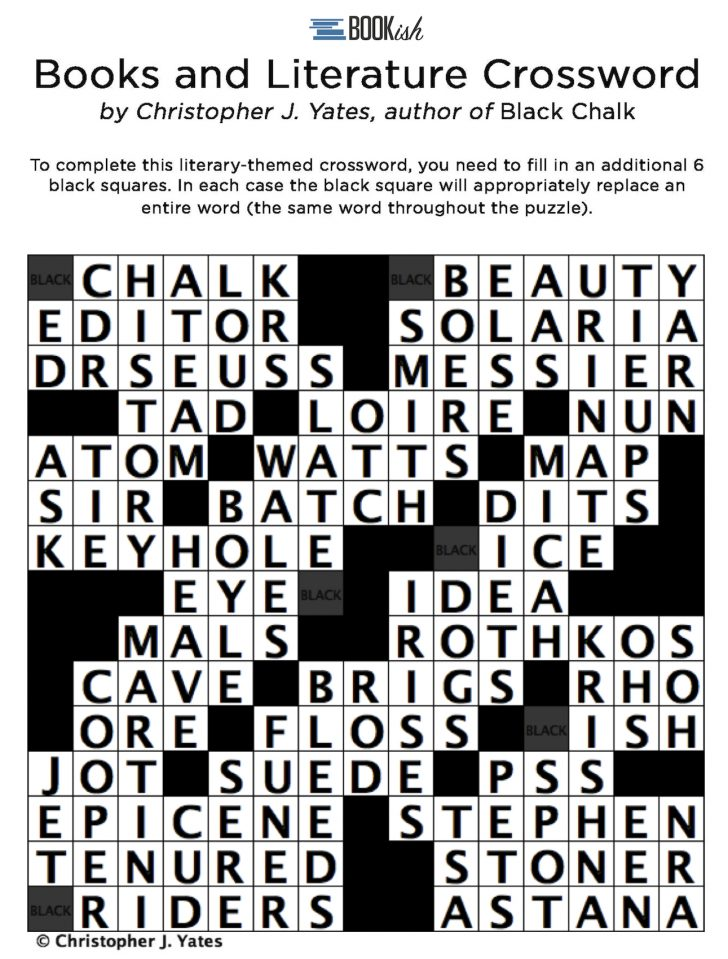 Printable Literature Crossword Puzzles