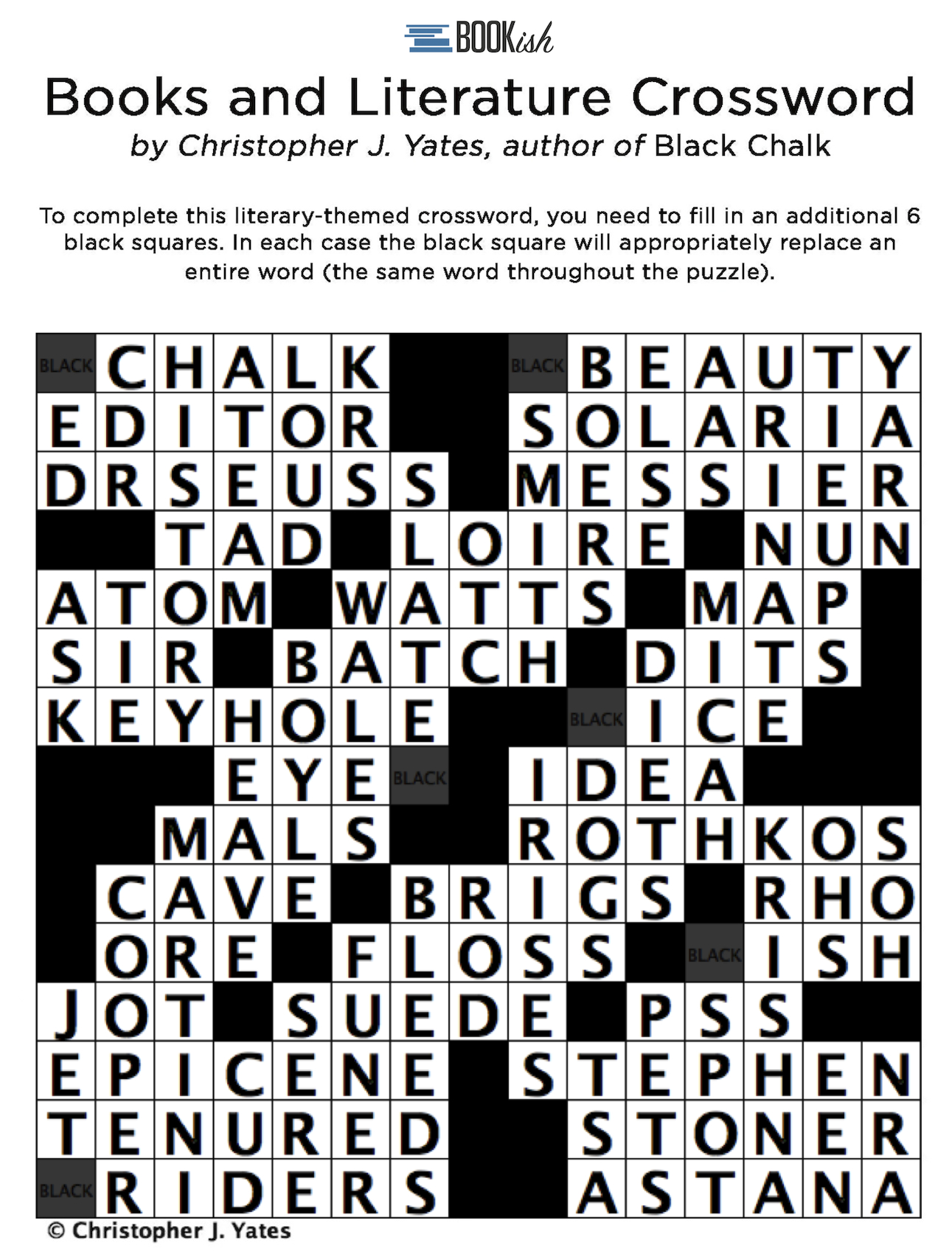 A Literary Crossword Puzzle From Thriller Author Christopher J - Printable Literature Crossword Puzzles