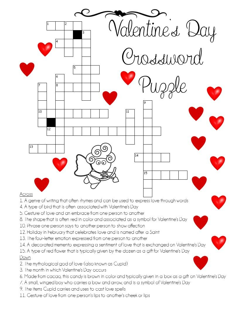 """A """"love"""" For Words! Valentine's Day Crossword Puzzle - Printable Christian Valentine Puzzles"""