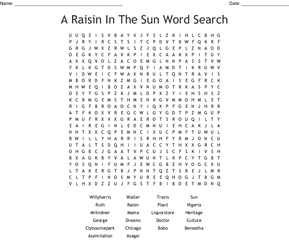 A Raisin In The Sun Word Search - Wordmint - Printable Sun Crossword
