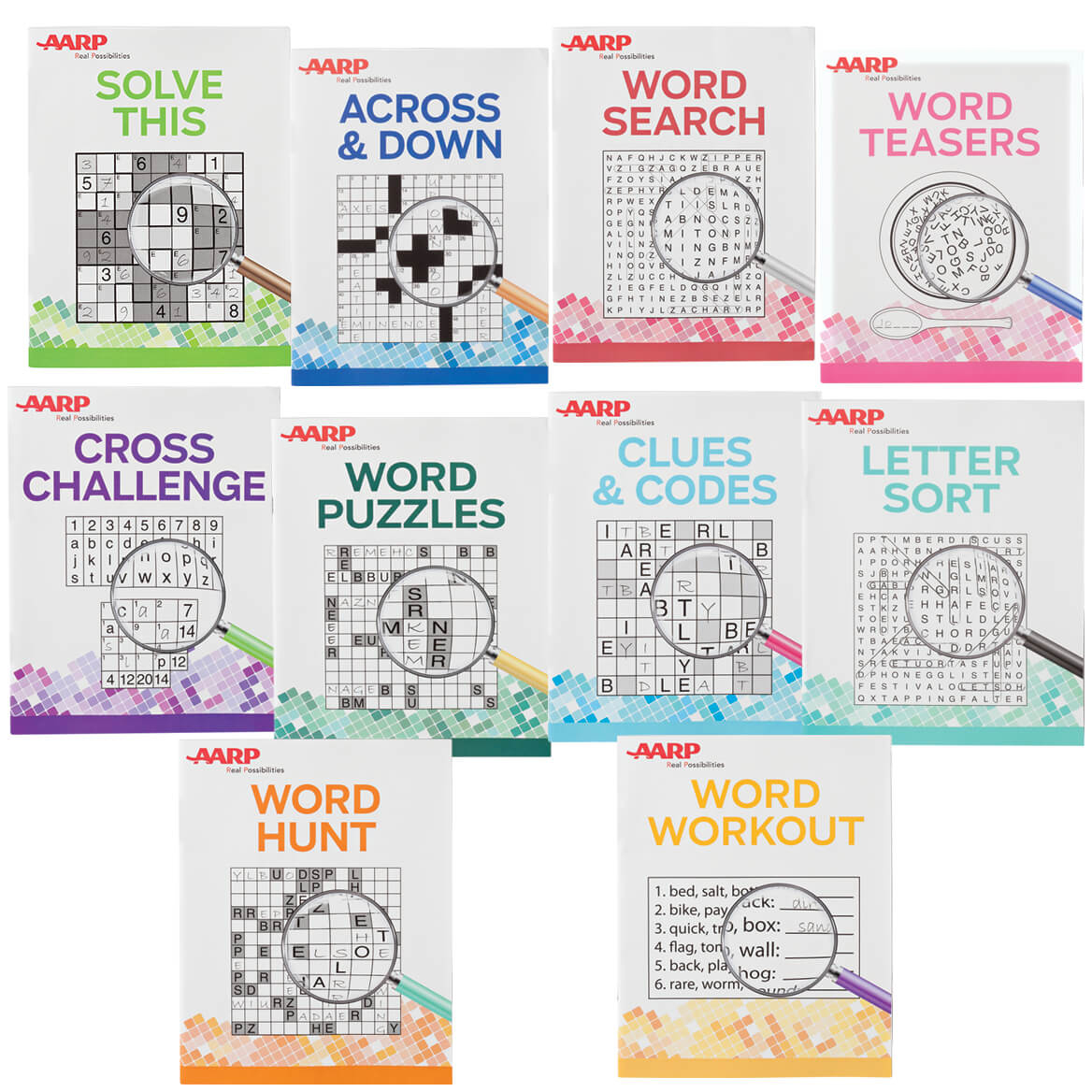 Aarp Large Print Puzzle Books, Set Of 10 - Aarp Puzzle - Miles Kimball - Puzzle Print Reviews